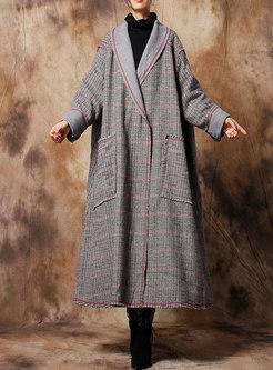 Elegant Grid Turn Down Collar Rough Selevedge Long Coat