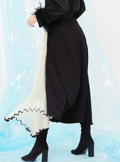 Stylish Color-blocked Mesh Pleated Maxi Skirt
