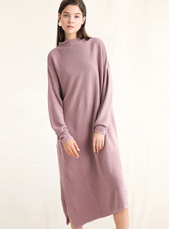 Trendy Loose Long Sleeve Slit Knitted Dress