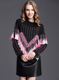 Stylish Beaded O-neck Tassel Patch Sweater