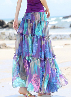 Sweet Print Chiffon Splicing Maxi Skirt