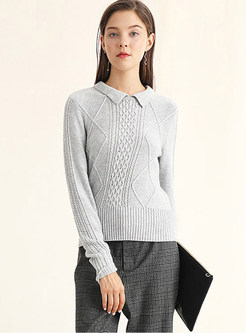 Trendy Lapel Pullover Slim Solid Color Sweater