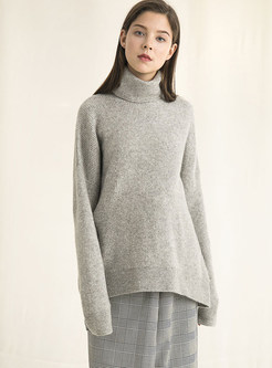 Turtle Neck Pure Color Warm Easy-matching Sweater