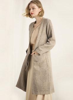 Solid Color Big Pocket Slim Knitted Coat