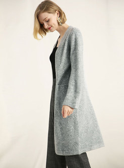 Light Blue Long Sleeve Single-breasted Knitted Coat