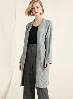 Light Blue Long Sleeve Single-breasted Sweater Coat
