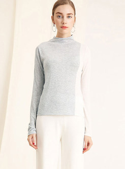 Fashion Color-blocked Pullover Bottoming Sweater