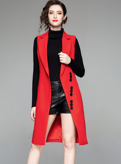 Trendy Red Notched Sleeveless Long Vest