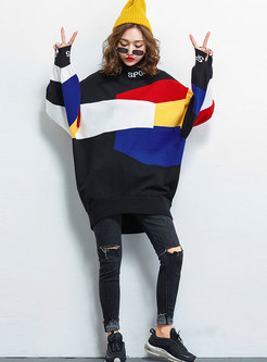 Casual Color-blocked High Neck Loose Sweater