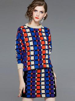 Autumn Multicolor Retro Top & Wrap Sheath Midi Skirt