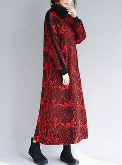 Stylish Print High Neck Loose Maxi Dress