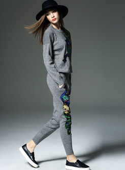 Autumn Grey Crew-neck Peacock Knitted Top & Harem Pants