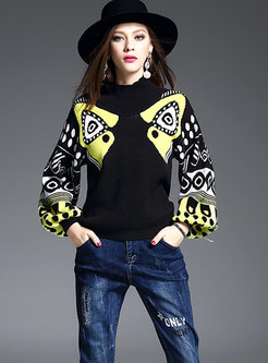 Winter Stylish Black Turtle Neck Lantern Sleeve Knitted Top