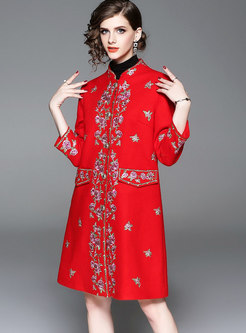 Retro Red Mandarin Collar Embroidered Hairy Coat