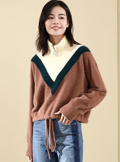 Color-blocked Half High Neck Tied Knitted Sweater
