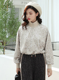 Chic High Neck Zipper Velvet Sweatshirt With Sequins