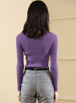Solid Color High Neck Slim Bottoming Sweater