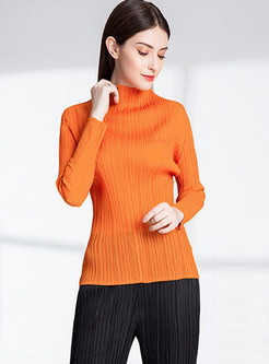 Half Turtle Neck Solid Color Elastic Bottoming Shirt