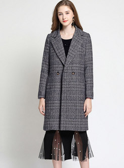 Brief Grid Turn Down Collar Double-breasted Slim Coat