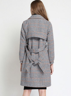 Grid Turn Down Collar Belted Double-breasted Slim Coat