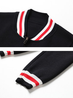 Long Sleeve Easy-matching Color Zip-up Short Coat
