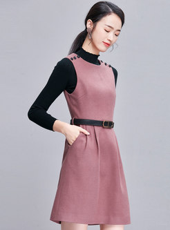 Trendy High Waist Sleeveless Belted Slim Woolen Dress