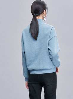Brief Letter Embroidered High Neck Sweatshirt