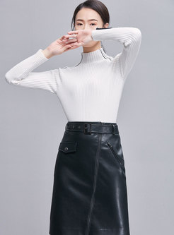 Brief Color-blocked High Neck Slim Knitted Sweater