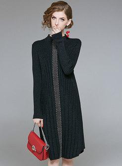 Elegant Black Slim Bottoming Sweater Dress With Bead