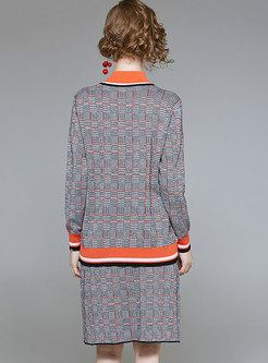 OL Orange Crew-neck Sweater & Sheath Plaid Wool Skirt