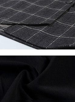 Elegant Grid High Waist Belted Asymmetric Skirt