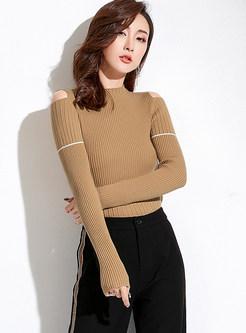 O-neck Off Shoulder Slim Bottoming Sweater