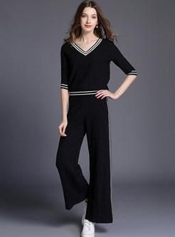 Autumn Casual V-neck Half Sleeve Elastic Waist Suit