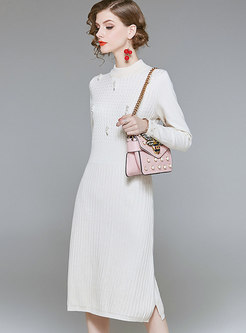 Fashion Beige O-neck Skinny Beaded Sweater Dress