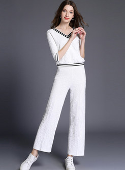 Casual Color-blocked V-neck T-Shirt & Straight Pants