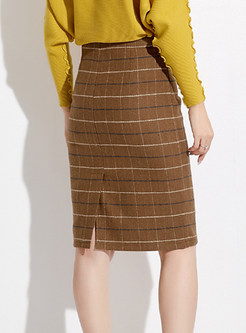 Trendy Hairy Plaid Slit Knee-length Bodycon Skirt