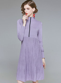 Fashion Standing Collar High-rise Wool Sweater