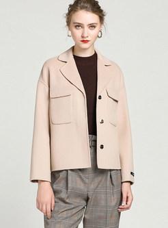Solid Color Single-breasted Pocket Short Woolen Coat