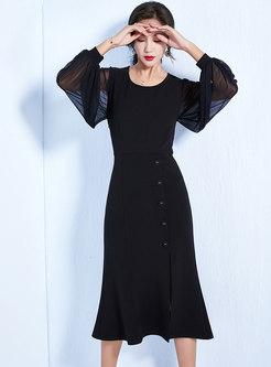 Pure Color Splicing Lantern Sleeve Slit Sheath Dress