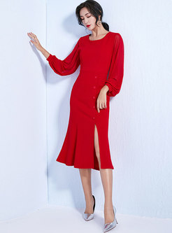 Stylish Splicing Lantern Sleeve Slit Sheath Dress