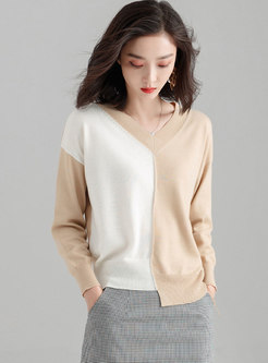 Color-blocked V-neck Asymmetric Pullover Sweater