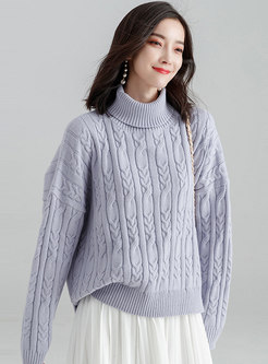 Pure Color High Neck Asymmetric Knitted Sweater