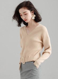 Solid Color V-neck Belted Pullover Sweater