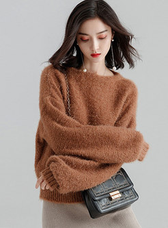 Casual Pure Color O-neck Loose Sweater