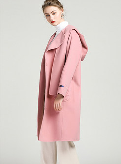 Hooded Long Sleeve Loose Straight Knee-length Coat