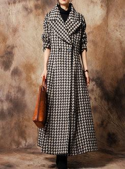 Elegant Print Turn Down Collar Slim Woolen Coat