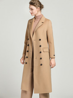 Notched Long Sleeve Double-breasted Wool Coat