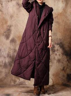 Elegant Pure Color Hooded Slim Down Coat