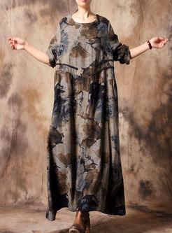 Vintage Ethnic Print O-neck Loose Maxi Dress