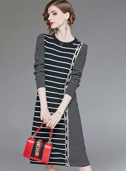 Fashion Black Striped High Waist Bottoming Midi Dress